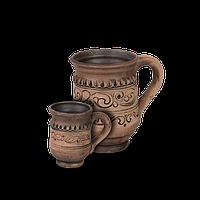 Чашка (филижанка) высокая глиняная Шляхтянская AF01 Покутская керамика  0,15 литра