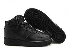 Женские кроссовки Nike Air Force 1 High черные топ реплика