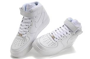 Кроссовки женские Nike Air Force 1 High белые топ реплика, фото 2