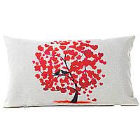 Эко наволочка на подушку дерево любви с красными сердцами и птицами