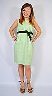 Платье-футляр салатовое, с вышивкой и поясом, 44-52 р-ры