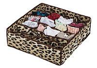 Коробочка для белья на 24 секции леопард