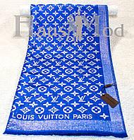 Женский палантин Louis Vuitton 32210 Синий электрик Логотип вышит золотистой люрексовой  нитью
