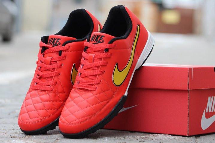 Футбольные сороконожки Nike Tiempo Genio TF Total Crimson/Volt/Black