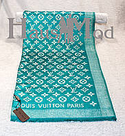 Женский палантин Louis Vuitton 32210 Берюза Логотип вышит золотистой люрексовой нитью