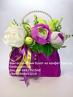 """Подарок из конфет """" Атласная сиреневая сумочка""""№11+5, фото 1"""