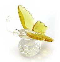 Бабочка на шаре хрусталь желтая (4,5х5х4 см)