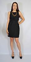 Платье-футляр черное с вышивкой и поясом, 44-50 р-ры