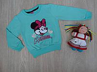 """Детский батник """"Minnie Mouse"""" с аппликацией для девочки бирюзовый р.5-8 лет"""