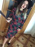 Платье футляр карандаш ангора софт цветочный принт, фото 2
