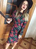 Платье футляр карандаш ангора софт цветочный принт, фото 4