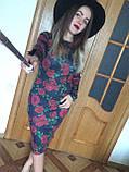 Платье футляр карандаш ангора софт цветочный принт, фото 5