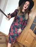 Платье футляр карандаш ангора софт цветочный принт, фото 7