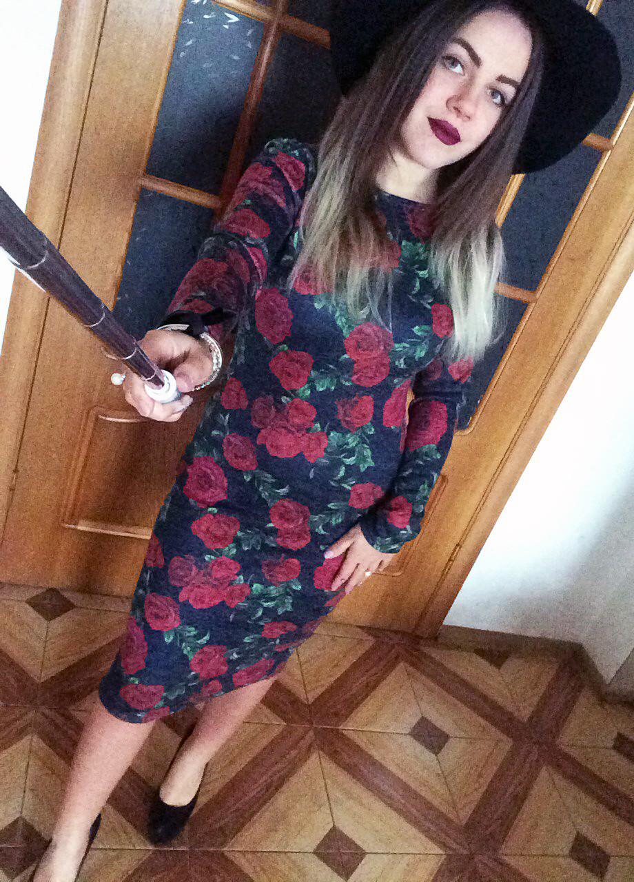 Платье футляр карандаш ангора софт цветочный принт