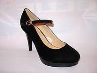 Туфли черные замшевые на каблуке Т391