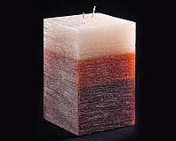 Свеча трехцветная карамельно-коричневая Два фитиля