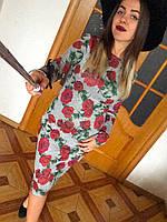 Платье футляр карандаш ангора софт цветочный принт, фото 1