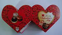 "Валентинка "" Happy Valentine's Day"", 80*60 мм,двойная, глиттер,укр.яз.Открытка на День Святого Валентина."