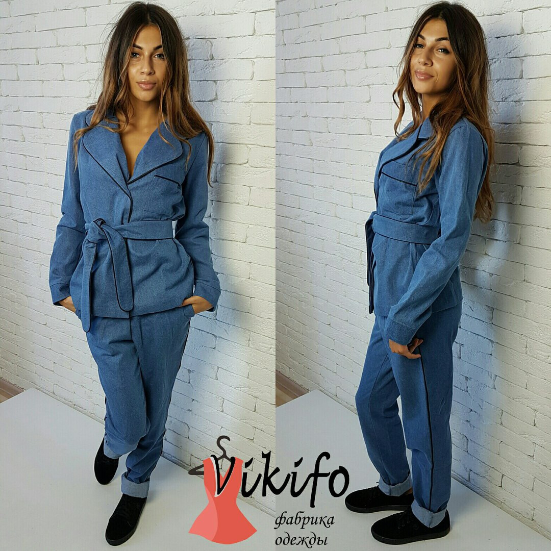 Женский джинсовый костюм, 2 цвета