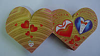 """Валентинка """" З Днем Закоханих"""", 80*60 мм,двойная, глиттер,укр.яз.Открытка на День Святого Валентина."""