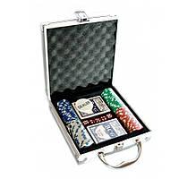 Покерный набор в алюминиевом кейсе (100 фишек, 2 кол. карт, 5 куб., р-р кейса 20х21х6,5 см.)