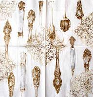 Салфетка Столовые приборы белое золото
