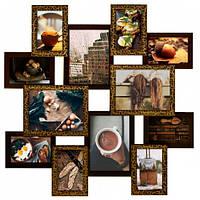 Деревянная мультирамка Путишественник золотой шоколад на 12 фото