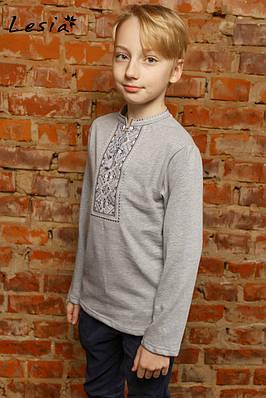 Вишиванка для хлопчика Карпатська сіра на сірому – довгий рукав
