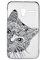 Чехол с рисунком Alcatel OneTouch Pixi 3 (3.5) 4009D Кот