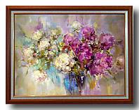 """Репродукция  современной картины """"Букет роз в синей вазе """" 32 х 44 см"""