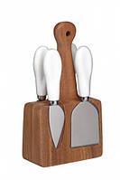 Набор для сыра с деревянной подставкой и 4 приборами