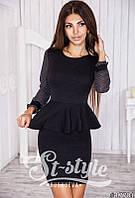 Платье Офисное с баской чёрное