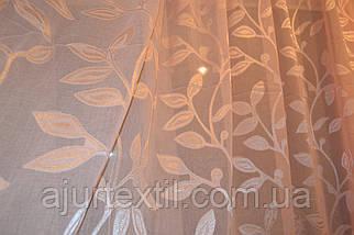 """Тюль лен с кристалоном персик """"Королевская"""", фото 2"""