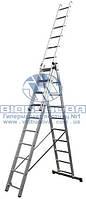Лестница трехсекционная алюминиевая бытовая Werk 3x10 ступеней (LZ3210B/LLA310)