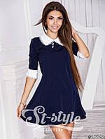 Платье Школьное с  белым воротничком и манжетами синее