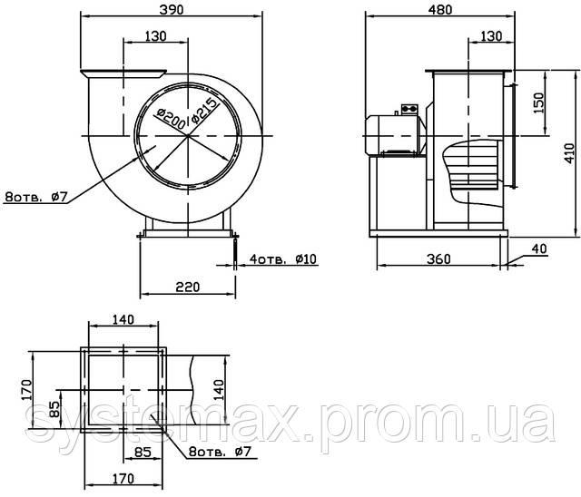Габаритные и присоединительные размеры вентилятора ВЦ 14-46 №2