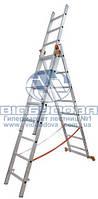Лестница трехсекционная алюминиевая бытовая Budfix 3x7 ступеней (01407)