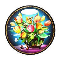 "Кухонная круглая доска ""Букет тюльпанов в вазе"""