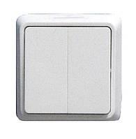 Выключатель двухклавишный внешней установки белый Аско
