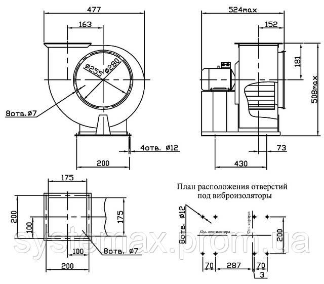 Габаритные и присоединительные размеры вентилятора ВЦ 14-46 №2,5