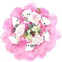 Букет из игрушек Котики 9 в розовом с цветком