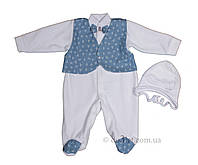 """Нарядный набор для новорожденного велюр """"Сеньор"""" Lari 1_5_021_7 р.56 белый джинс якоря"""