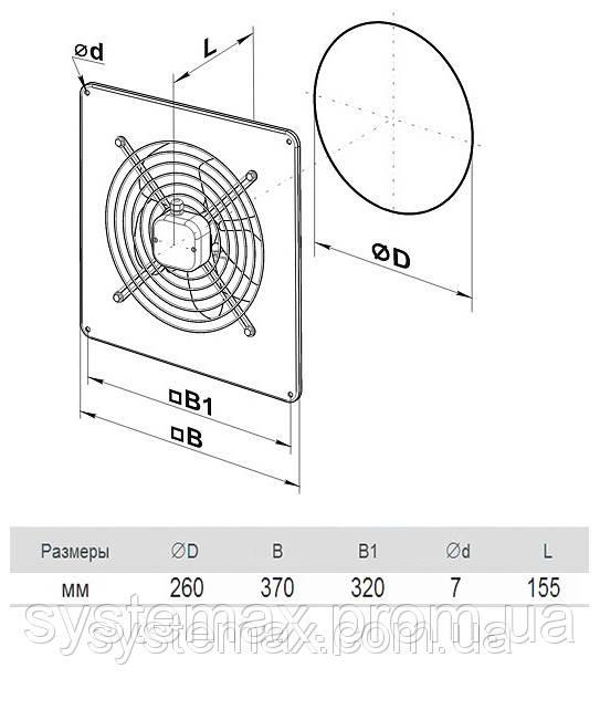 Размеры (параметры) вентилятора ВЕНТС ОВ 4Е 250