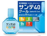 Японские капли для глаз с ментолом. Sante 40 Cool. Возрастные витаминизированные.