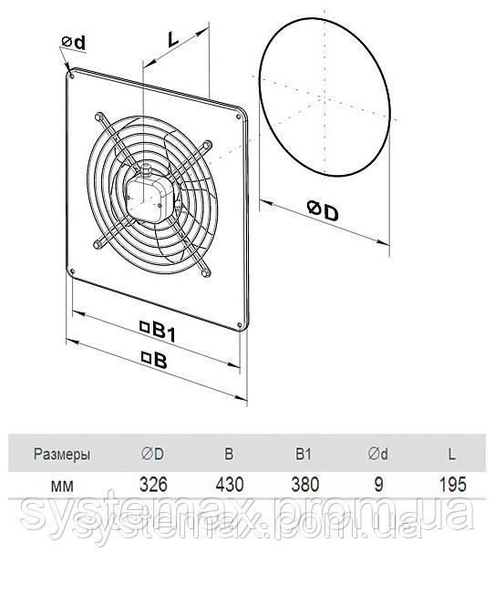 Размеры (параметры) вентилятора ВЕНТС ОВ 2Е 300