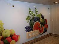 Стеклянная панель на кухонную стену с рисунком, фото 1