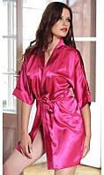 Атласный халат розовый