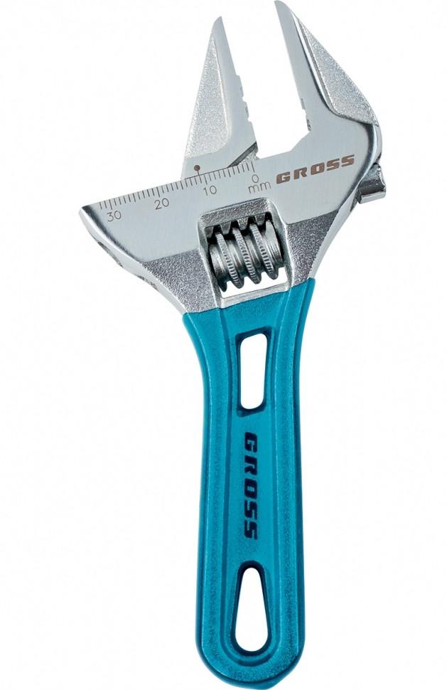 Ключ разводной,укороченная ручка,тонкие губки,GROSS  15564,120x28 мм