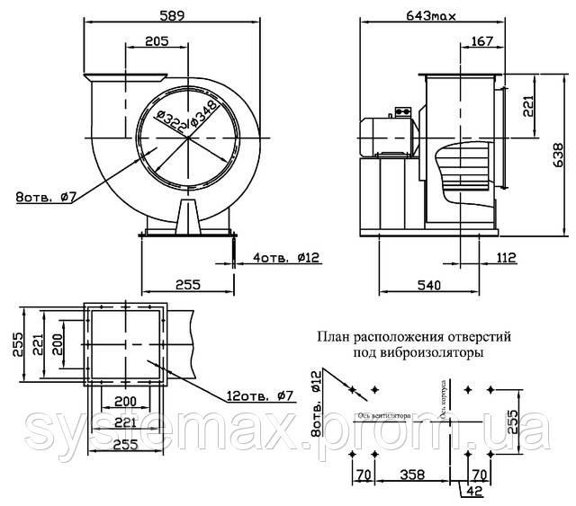 Габаритные и присоединительные размеры вентилятора ВЦ 14-46 №3,15