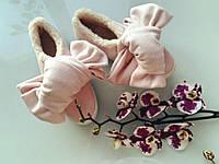 Кашемировые слипоны (мокасины) с бантами пудра зимние